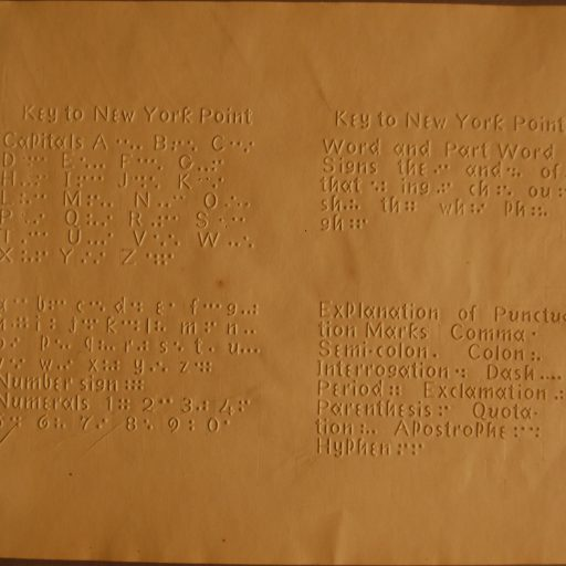 A page of raised roman letters and equivalent raised New York Point letters, contractions and punctuation marks