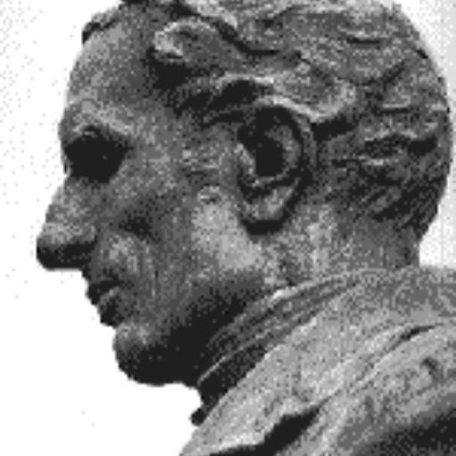 Side view of the bust of Louis Braille as an adult