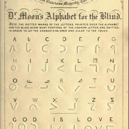 The complete alphabet in Moon plus a final line: God is Love in roman letters and Moon type