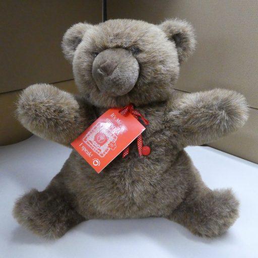 Un ours brun assis avec une étiquette de produit liée autour de son cou
