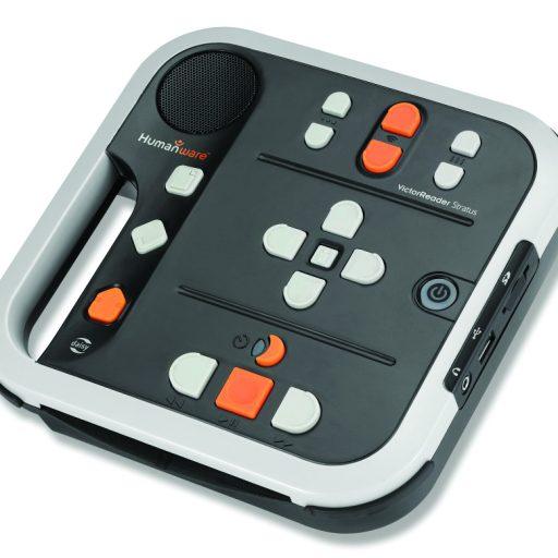 La photo montre le dessus du lecteur : du côté gauche –boutons pour les renseignements, signet et touche d'éjection. Au centre à droite – touche pour allumer/éteindre. En haut – touches pour le ton, le volume, la vitesse. Au centre – bouton de navigation et boutonde localisation. En bas – mode veille, touche arrêt/pause, touche d'avance rapide/de rembobinage.