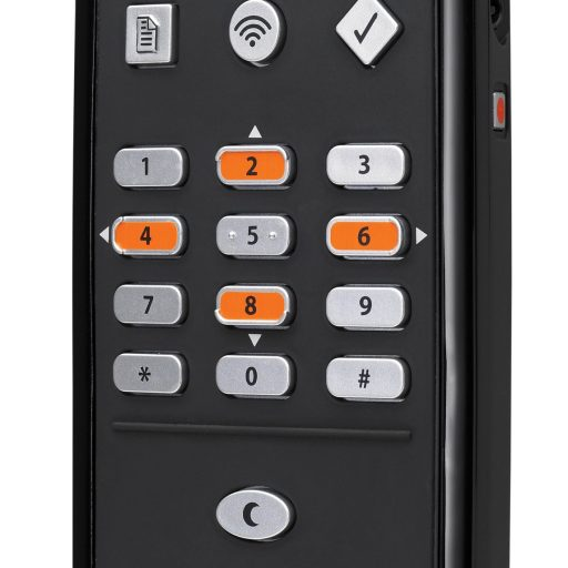 The control buttons from top to bottom of the front are: bookmark, wireless, where am I?, a telephone style keypad for navigation, sleep, start/pause and fast forward/backward