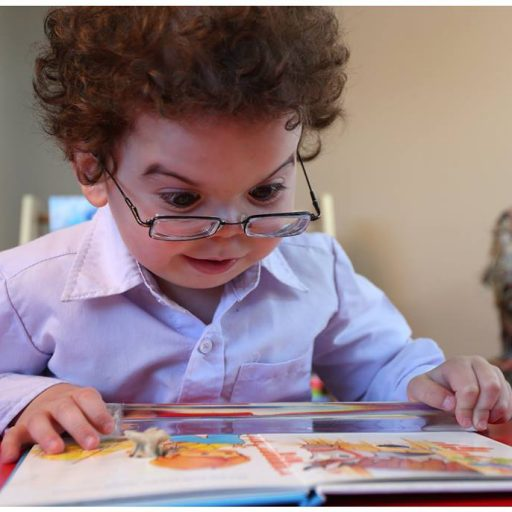 A young boy, wearing glasses, is holding a page magnifier over an open picture book and is gazing intently at the picture