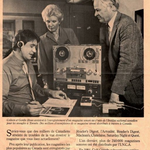 Colleen and Gordie Howe are watching a volunteer narrator record a magazine onto reel-to-reel tape